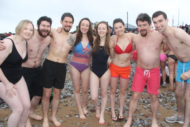 Brave group of swimmers at the Christmas Day swim in Fenit. Photo by Dermot Crean