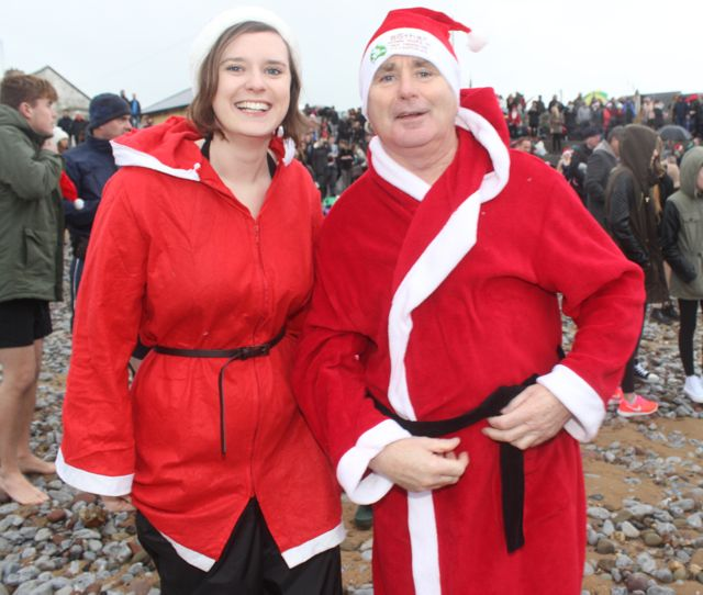 Deirdre and Mike O'Halloran at the Christmas Day swim in Fenit. Photo by Dermot Crean