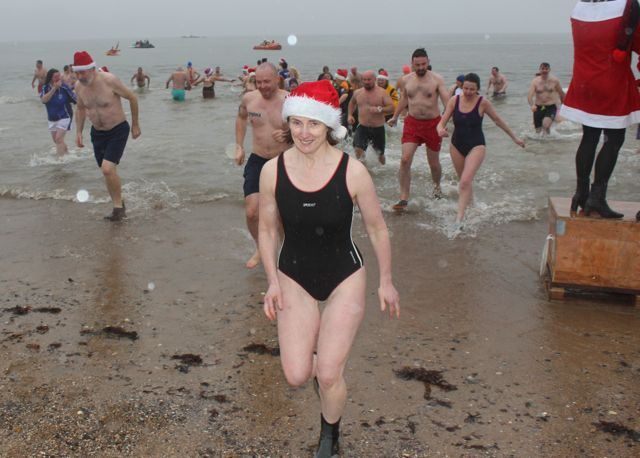 Looking happy leaving the water for the Christmas Day swim in Fenit. Photo by Dermot Crean
