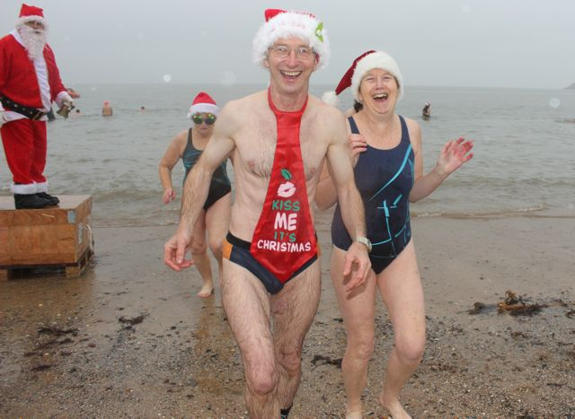 A particularly festive dipper leaving the water for the Christmas Day swim in Fenit. Photo by Dermot Crean