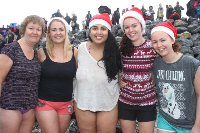 Gemma Moore, Claire Moore, Pari Ludin, Nicola Moore and Hayley Moore at the Christmas Day swim in Fenit. Photo by Dermot Crean