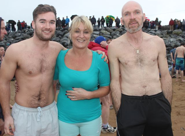 Richie Campbell, Fiona Barry and Colm O'Brien at the Christmas Day swim in Fenit. Photo by Dermot Crean
