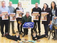 Launching the Blennerville National School Night at the Dogs Fundraiser, were in front: Wiktor Kopec and Lilly May Mullins. Back: Mike O'Connor, Tom Cronin, Nora Corradan, Johnny Kelly, Terry O'Sullivan, Maura O'Donnell and Denise Shanahan. Photo by Gavin O'Connor.
