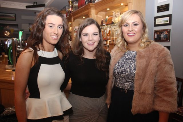 Aoife Behan, Therese Moran and Megan Weir, Clanmaurice club, at the Kerry Camogie Social at the McHales Stretford End, Causeway, on Friday night. Photo by Dermot Crean