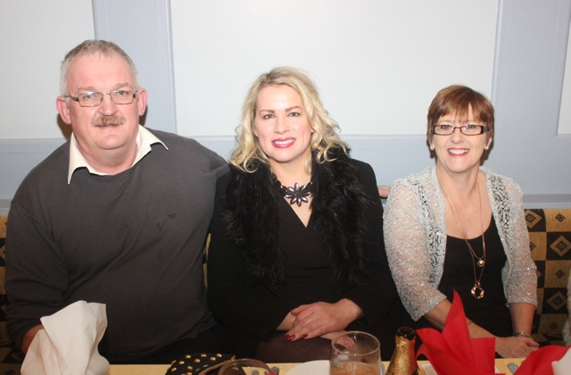 Tom Meehan, Diane Jeffers and Laura O'Sullivan at the Kerry Camogie Social at the McHales Stretford End, Causeway, on Friday night. Photo by Dermot Crean