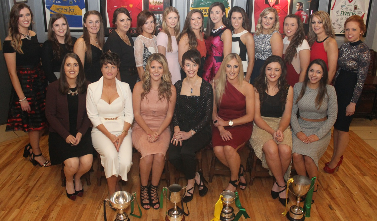 Members of the Kerry camogie and Clanmaurice camogie club at Kerry Camogie Social at the McHales Stretford End, Causeway, on Friday night. Photo by Dermot Crean