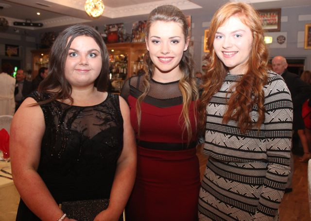 Emma Lawlor, Alannah Whelan and Rachel Burke at the Kerry Camogie Social at the McHales Stretford End, Causeway, on Friday night. Photo by Dermot Crean