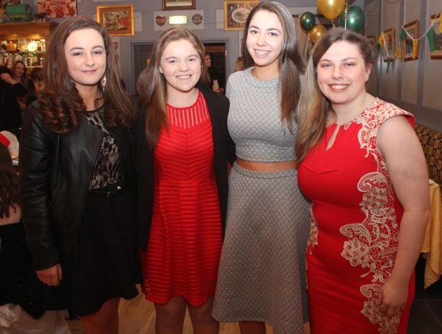 Olivia Stack, Aoife O'Connor, Julianne O'Keeffe and Andrea Hanley at the Kerry Camogie Social at the McHales Stretford End, Causeway, on Friday night. Photo by Dermot Crean