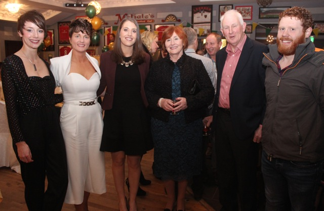 Olivia Dineen, Michelle Enright, Gillian McNamara, Breda McNamara, Matt McNamara and Cillian Moloney at the Kerry Camogie Social at the McHales Stretford End, Causeway, on Friday night. Photo by Dermot Crean