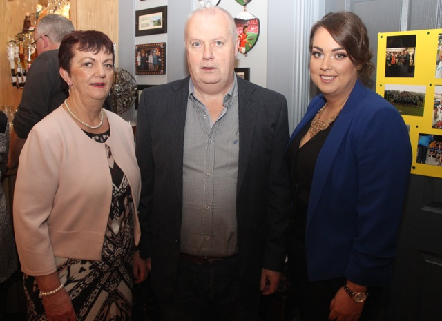 Rena, Mike and Michelle O'Carroll at the Kerry Camogie Social at the McHales Stretford End, Causeway, on Friday night. Photo by Dermot Crean