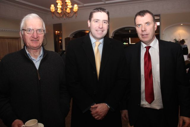Dave McNamara, Darragh Ó Sé and Dick Boyle at the special fundraising coffee morning, in aid of Kerry Hospice, to mark the retirement of Chief Superintendent Pat Sullivan, on Friday afternoon at the Ballygarry House Hotel. Photo by Dermot Crean