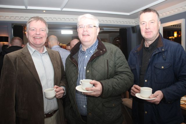 Jerry Quinlan, Frank Quaid and Tony Horgan at the special fundraising coffee morning, in aid of Kerry Hospice, to mark the retirement of Chief Superintendent Pat Sullivan, on Friday afternoon at the Ballygarry House Hotel. Photo by Dermot Crean