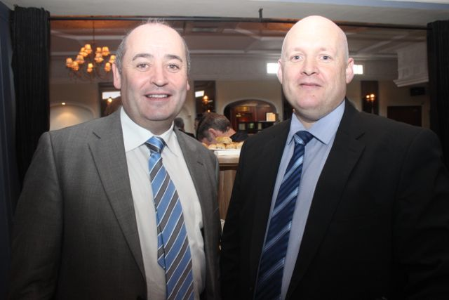 Derek Smart and Paul Kennedy at the special fundraising coffee morning, in aid of Kerry Hospice, to mark the retirement of Chief Superintendent Pat Sullivan, on Friday afternoon at the Ballygarry House Hotel. Photo by Dermot Crean