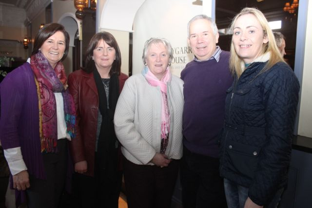 Myra Kissane, Elaine Burke, Anne Egan, Neily Sullivan and Mary Gardiner at the special fundraising coffee morning, in aid of Kerry Hospice, to mark the retirement of Chief Superintendent Pat Sullivan, on Friday afternoon at the Ballygarry House Hotel. Photo by Dermot Crean