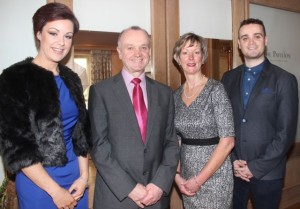 Retiring Chief Supt Pat Sullivan with wife Maura, daughter Sarah and son Michael at the special fundraising coffee morning, in aid of Kerry Hospice, to mark the his retirement as Chief Superintendent of the Kerry Division on Friday afternoon at the Ballygarry House Hotel. Photo by Dermot Crean