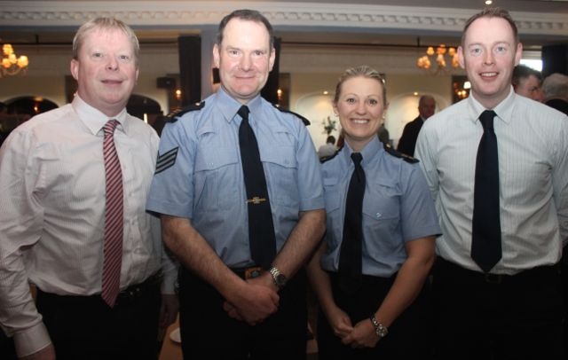 Det Brian Mackey, Sgt Kieran O'Connell, Sgt Helena Carey and Det James Hurley at the special fundraising coffee morning, in aid of Kerry Hospice, to mark the retirement of Chief Superintendent Pat Sullivan, on Friday afternoon at the Ballygarry House Hotel. Photo by Dermot Crean