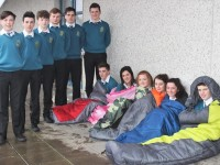 Mercy Mounthawk students who will take part in 'The Road Home Sleep Out'  in aid of homeless were, from left: Evan O'Connor, Conor Higgins, Sean Costello, Ian Dillane, Tom Guerin, Joe O'Connor, Chloe Hogan Katie Ryan, Anna Morrison, Ali Feely, Thomas Healy. Photo by Gavin O'Connor.