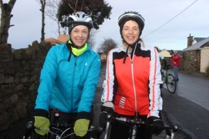 Morna O'Halloran and Sheila Kelly taking part in the Jimmy Duffy Memorial Cycle on Saturday morning. Photo by Dermot Crean