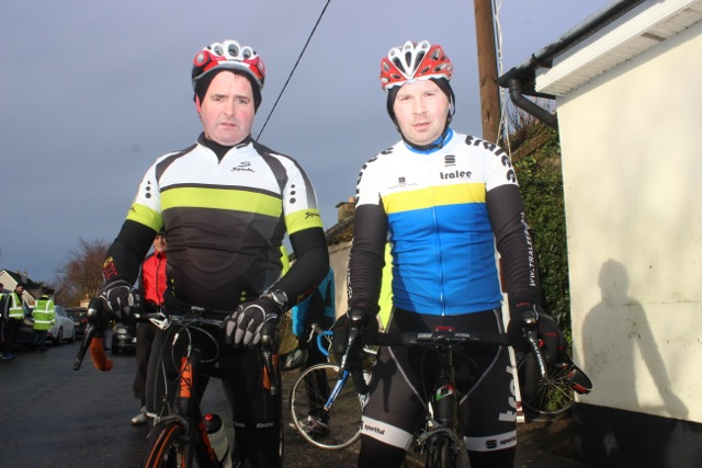Jimmy O'Connor and Mark Ryall taking part in the Jimmy Duffy Memorial Cycle on Saturday morning. Photo by Dermot Crean
