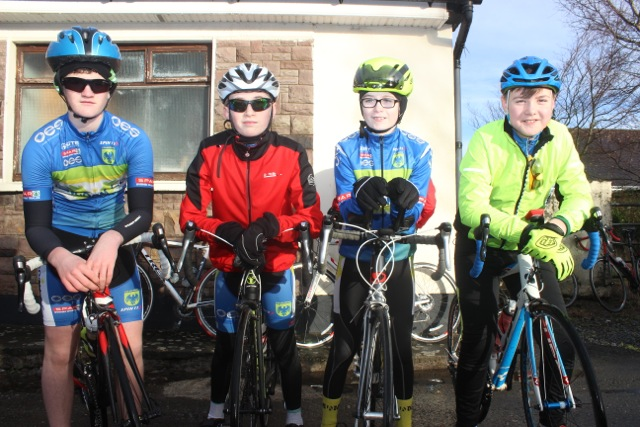 Killian O'Sullivan, Sean Lynch, Dylan O'Sullivan and Brian Stryker taking part in the Jimmy Duffy Memorial Cycle on Saturday morning. Photo by Dermot Crean