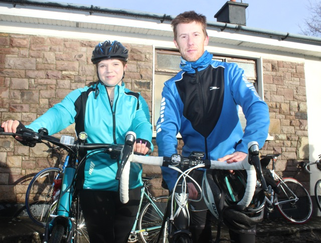 Claire Galvin and Shane Flynn taking part in the Jimmy Duffy Memorial Cycle on Saturday morning. Photo by Dermot Crean