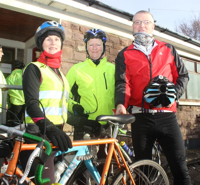 Jenny McGowan, Aileen Clifford and Dave Elton taking part in the Jimmy Duffy Memorial Cycle on Saturday morning. Photo by Dermot Crean