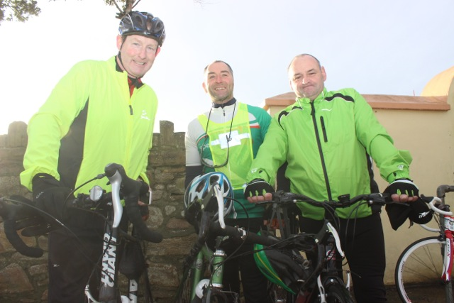 Liam Harty, Patrick Dillane and Michael O'Callaghan taking part in the Jimmy Duffy Memorial Cycle on Saturday morning. Photo by Dermot Crean
