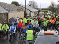 Cyclists at the start of the Jimmy Duffy Memorial Cycle on Saturday morning. Photo by Dermot Crean
