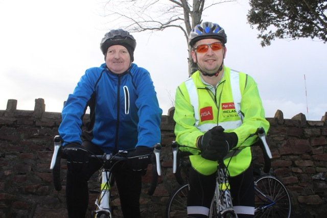 John McAdams and Brian O'Shea taking part in the Jimmy Duffy Memorial Cycle on Saturday morning. Photo by Dermot Crean