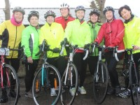 Anne O'Riordan and Angela Moloney, Joan O'Sullivan, Siobhan Cotter, Sheila Brosnan, Joan Hill, Margaret Lyons and Margaret Hayes taking part in the Jimmy Duffy Memorial Cycle on Saturday morning. Photo by Dermot Crean