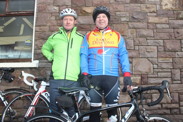 Jimmy O'Brien and Bernard Keane taking part in the Jimmy Duffy Memorial Cycle on Saturday morning. Photo by Dermot Crean