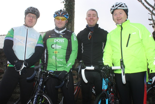 Dinny Walsh, Aidan Hobbert, Alan Locke and John Murray taking part in the Jimmy Duffy Memorial Cycle on Saturday morning. Photo by Dermot Crean