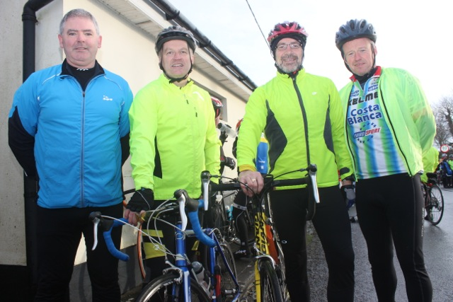 Mike Griffin, Edward Barry, Peter Nolan and Frank O'Connor taking part in the Jimmy Duffy Memorial Cycle on Saturday morning. Photo by Dermot Crean