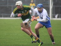 Kerry's, Shane Nolan takes off with Waterford's Colin Dunford trailing behind. Photo by Gavin O'Connor.