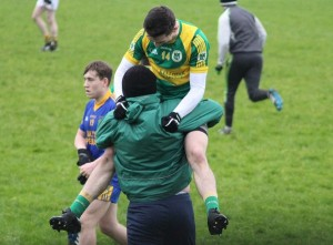 James Duggan celebrates at the final whistle with selector, Eoin Kelliher, Photo by Gavin O'Connor