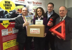 Tralee Credit Union giving away Breakdown Emergency Pack with their Motor Loans. Photo: Tralee Credit Union's Lending Team with Jason Quirke, Top Part Kingdom Motor Factors from left to right, Stephen Corner, Karen Delaney, Jason Quirke (Top Part) and Mike Lynch, Loans Officer.