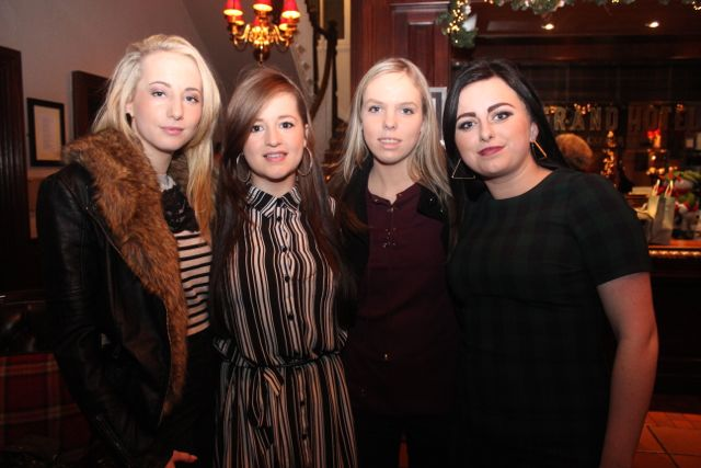 Norma Horan, Mary Lyne, Nicole O'Connor and Laura Lenihan enjoying Women's Christmas in The Grand Hotel on Wednesday night. Photo by Dermot Crean