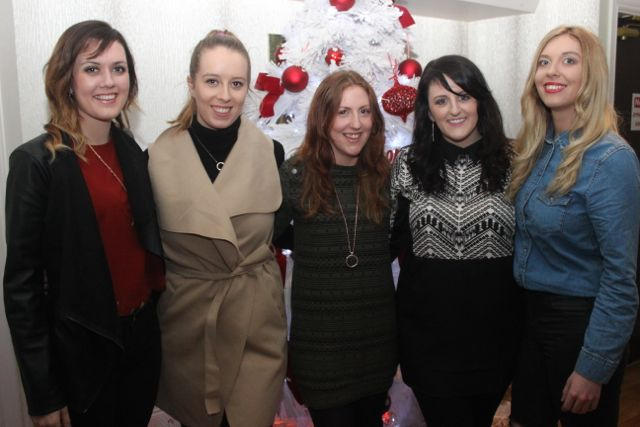 Avalon O'Dowd, Sarah O'Connor, Lorna O'Regan, Regina O'Regan and Laura Sheehy enjoying Women's Christmas in Kirby's Brogue Inn on Wednesday night. Photo by Dermot Crean