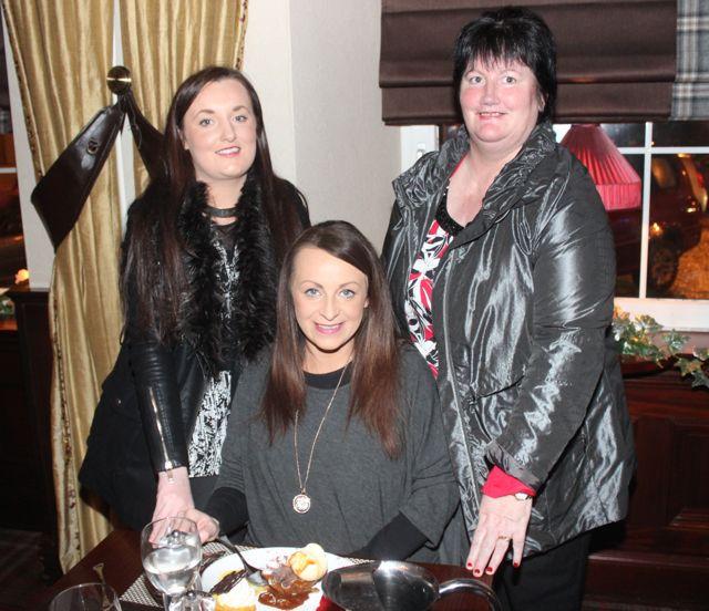 Sheila Brosnan, Marilyn Roche Doreen Brosnan enjoying Women's Christmas in The Grand Hotel on Wednesday night. Photo by Dermot Crean