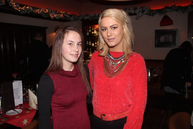 Samantha and Donna Ward enjoying Women's Christmas in The Grand Hotel on Wednesday night. Photo by Dermot Crean