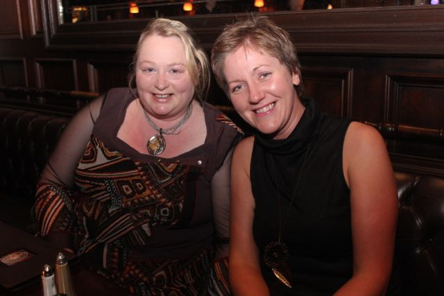 Samantha Sugrue and Tina Curtin enjoying Women's Christmas in The Grand Hotel on Wednesday night. Photo by Dermot Crean