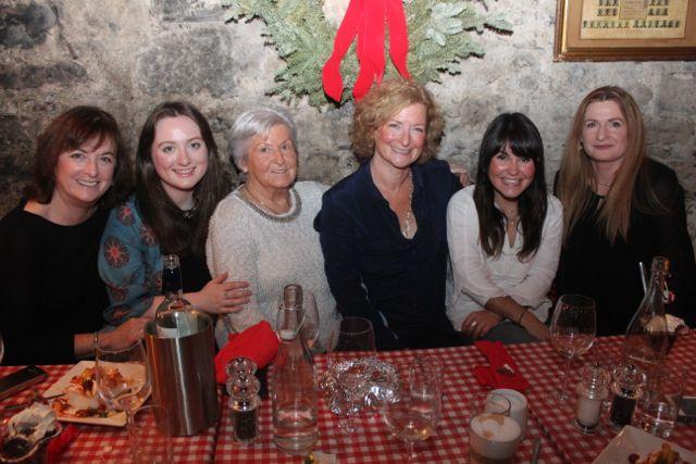 Tricia White, Hilary White, Eileen Moriarty, Maryann Heidtke, Belen Diaz Salazar and Eileen Diggin enjoying Women's Christmas in Finnegan's Restaurant on Wednesday night. Photo by Dermot Crean