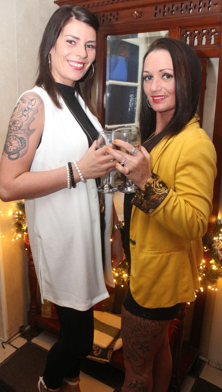 Shelley Powell and Sandra O'Brien enjoying Women's Christmas in Bella Bia Restaurant on Wednesday night. Photo by Dermot Crean
