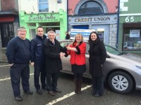 Dolores O'Reilly, Tralee Credit Union Member Car Draw winner from Castleisland, collecting the keys to her brand new Toyota Auris 161 from Derry Fleming Tralee Credit Union. Also in the picture is her partner, Dan O'Sullivan, Jerry O'Sullivan, Kellihers Toyota and Suzanne Ennis, Tralee Credit Union.