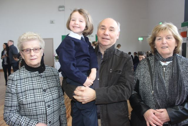 Olivia Crean with grandparents, from left, Colette Walsh, Ballybunion, Jerry and Marie Crean, Tralee, at the Grandparents Day at St Brendan's NS in Blennerville on Wednesday. Photo by Dermot Crean