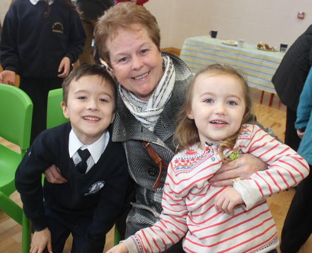 Carmel Turner with grandkids Calum and Yvie Ross at the Grandparents Day at St Brendan's NS in Blennerville on Wednesday. Photo by Dermot Crean
