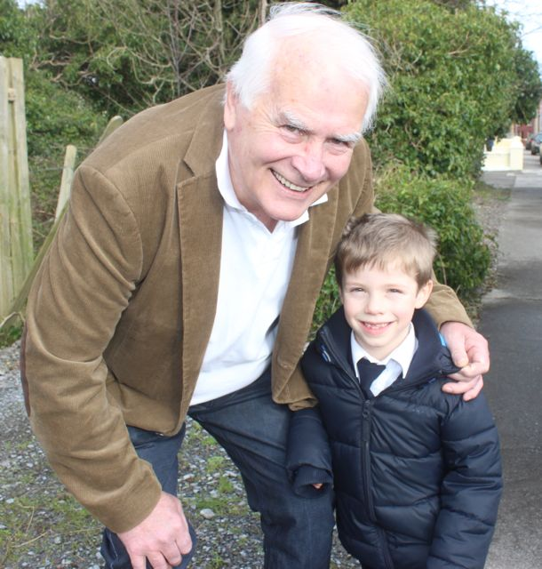 Shane O'Neill with grandson Shane at the Grandparents Day at St Brendan's NS in Blennerville on Wednesday. Photo by Dermot Crean