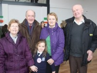 Emily Corridon with grandparents, from left; Mary and Phil Corridon, Tralee and Eileen and Eamon Kissane, Ballybunion, at the Grandparents Day at St Brendan's NS in Blennerville on Wednesday. Photo by Dermot Crean