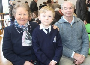Kay and John Morrissey with grandson Jack Maguire at the Grandparents Day at St Brendan's NS in Blennerville on Wednesday. Photo by Dermot Crean