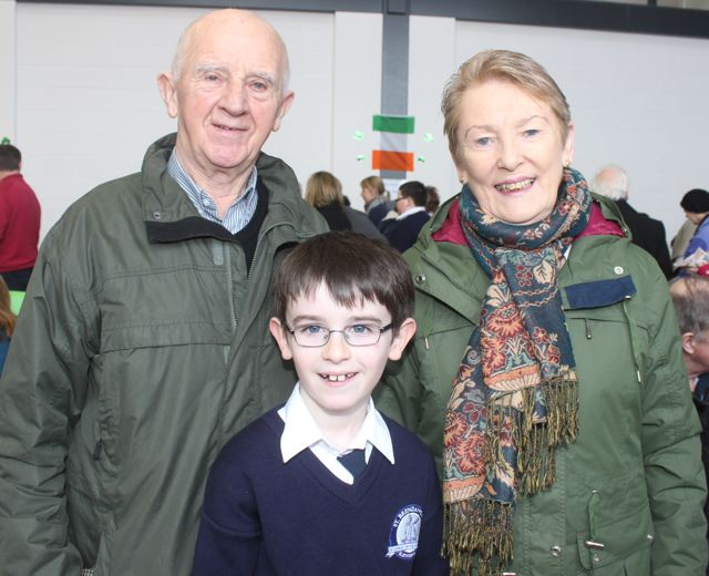 Pat and Toni Corkery with grandson Rory Kelliher at the Grandparents Day at St Brendan's NS in Blennerville on Wednesday. Photo by Dermot Crean